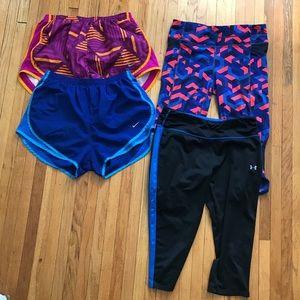 Nike and Athleta capris and shorts bundle